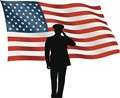 man in front of USA flag