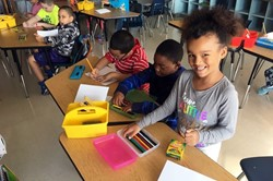 CFJ students write letters.