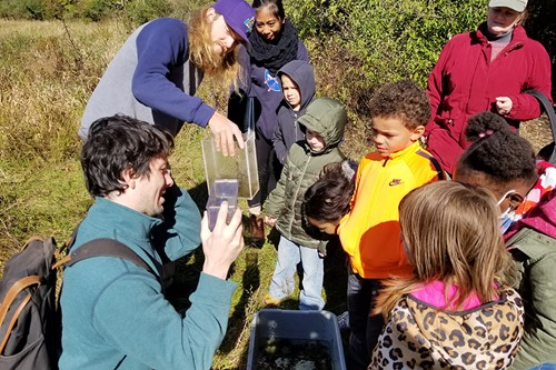 Students at nature preserve
