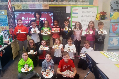 Students with their gingerbread houses
