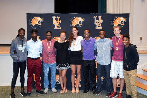 Group photo of track and field state competitors