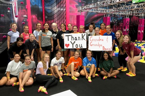 Tennis team at trampoline park
