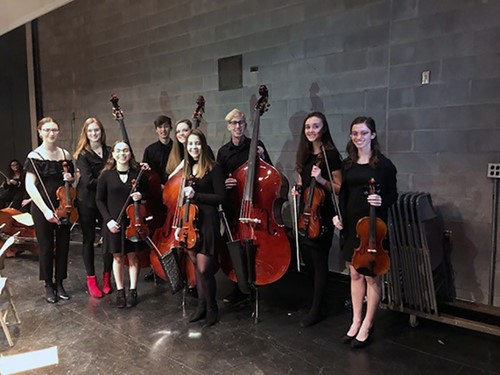 Students in orchestra