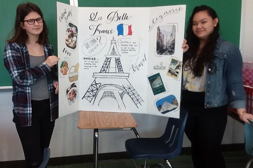 Students with French poster.