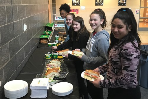 Students at Lunch and Earn