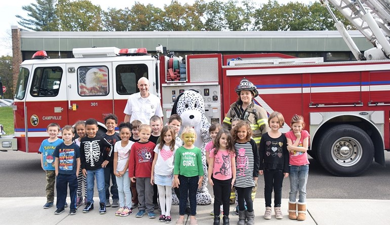 TJW students visit with Campville Fire Department.