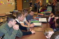 UEHS students talk with JFS 8th graders about becoming freshmen.