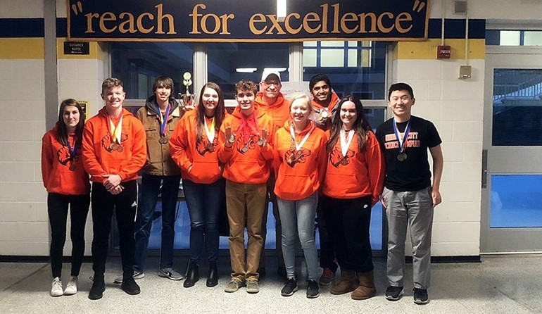 Science Olympiad team placed 2nd in regionals.