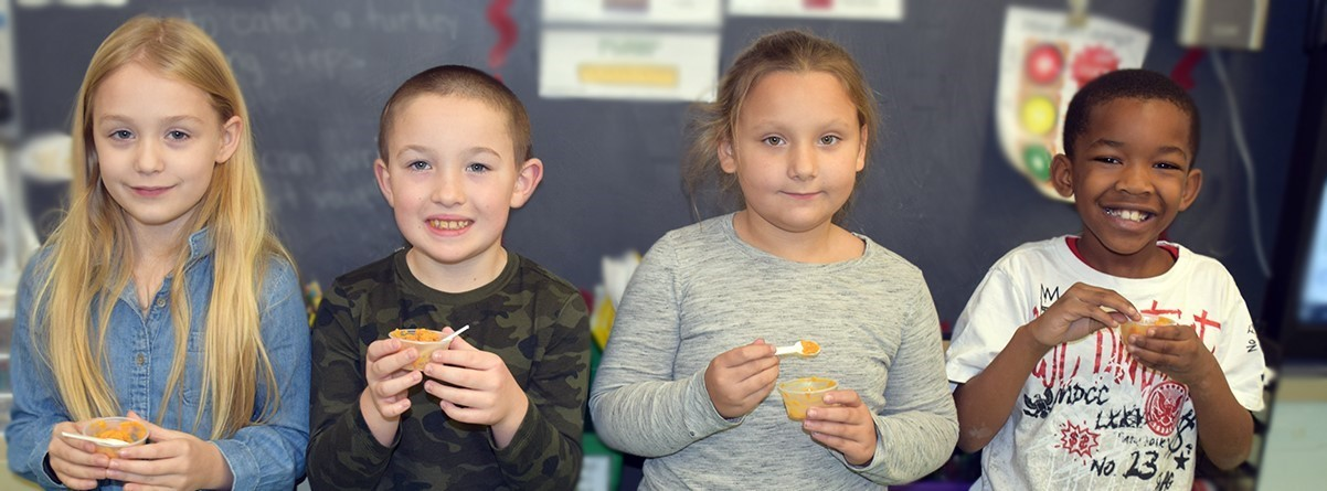 AGM students made their own pumpkin pie in a cup during Ag in the Classroom!
