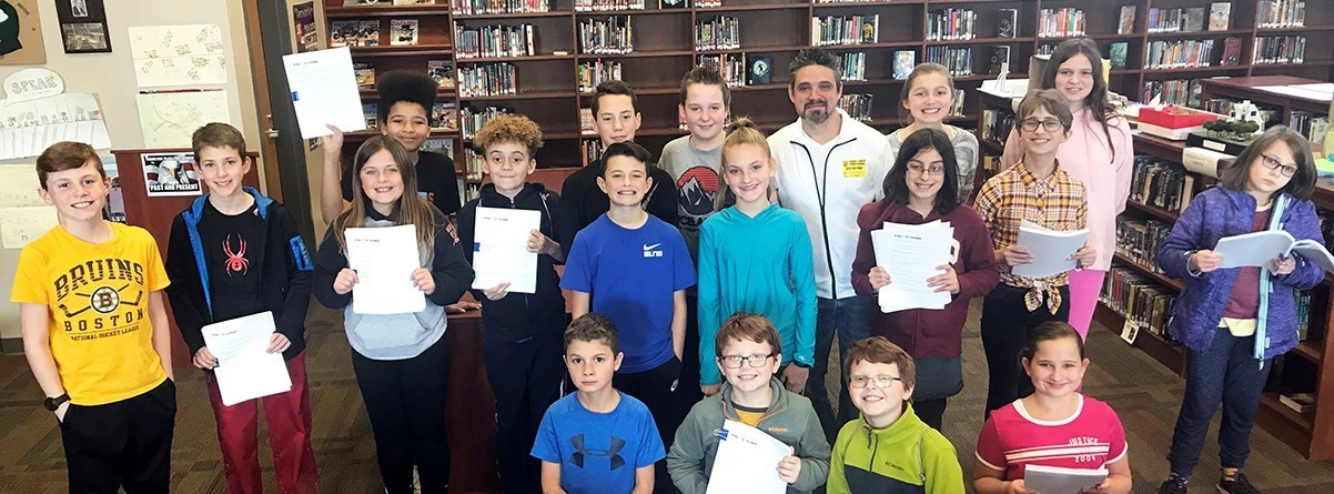 sixth graders with author