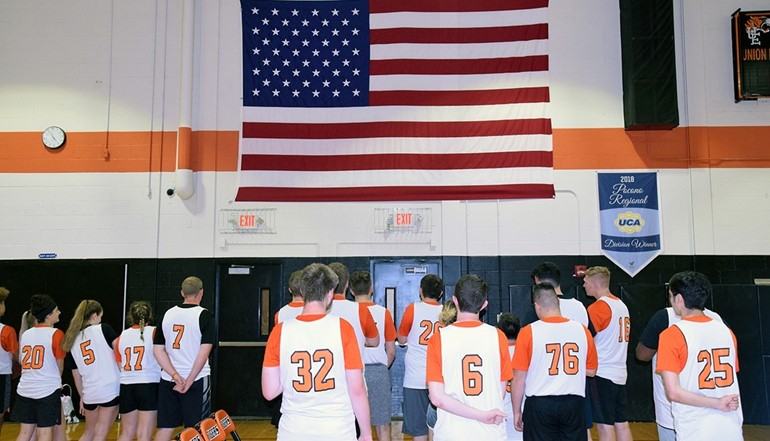 Unified Basketball during the National Anthem at their last home game.