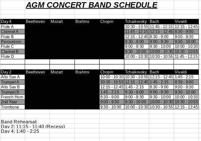 Example of Regular School Band Schedule