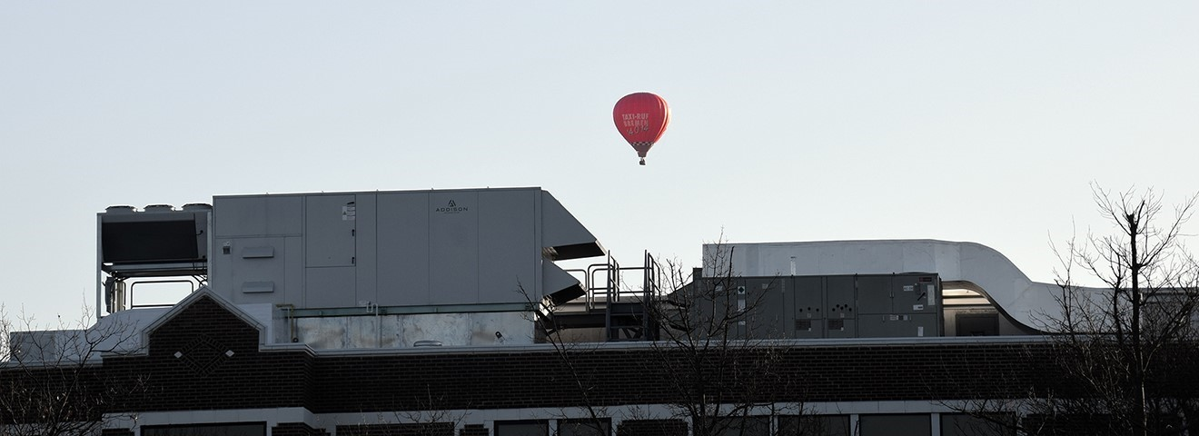 Hot air balloon over UEHS on March 22.