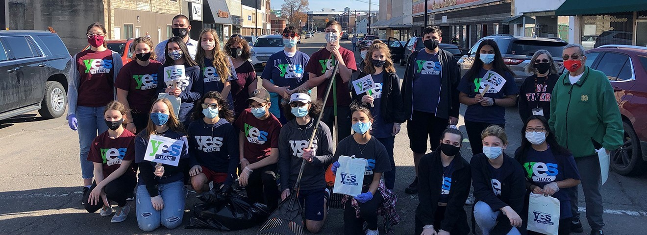 YES Leads & Endicott Proud work on cleaning up Washington Ave.